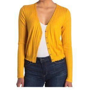 Abound Mustard Pointelle Knit Crop Sweater Cropped
